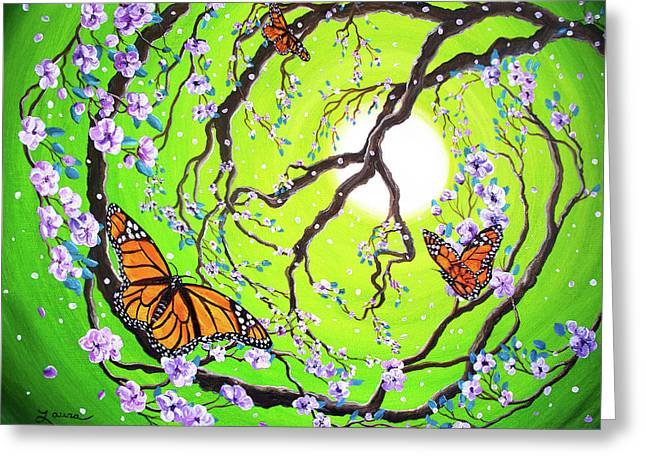 Peace Symbol Greeting Cards - Peace Tree with Monarch Butterflies Greeting Card by Laura Iverson