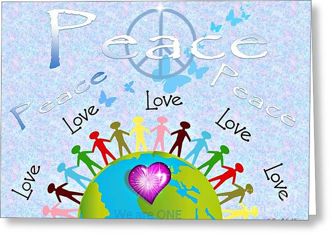 Peace We Are One Poster Greeting Card