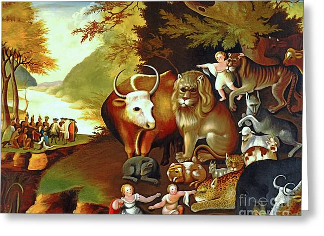 Peaceable Kingdom By Edward Hicks 20170409 Greeting Card by Wingsdomain Art and Photography