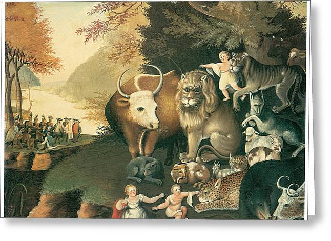 Peaceable Greeting Cards - Peaceable Kingdom Greeting Card by Edward Hicks