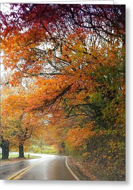 Peaceful Autumn Road Greeting Card