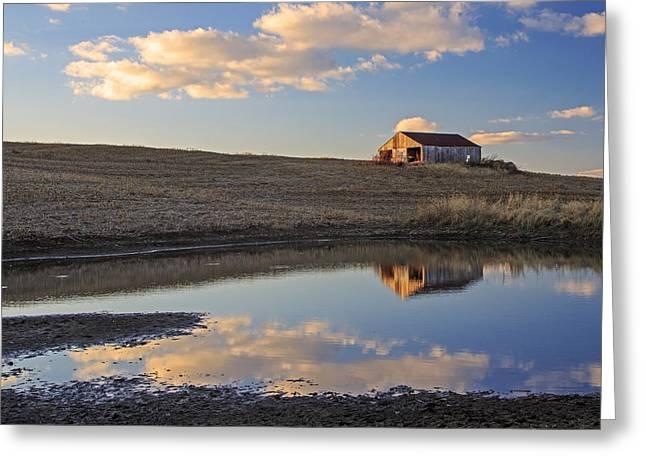 Peaceful Barn Reflection Greeting Card