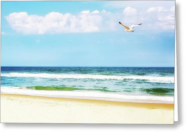 Peaceful Beach With Seagull Soaring Greeting Card