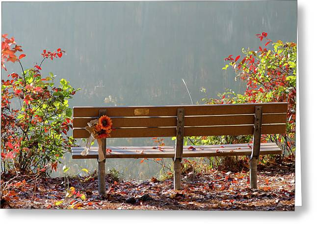 Peaceful Bench Greeting Card by George Randy Bass