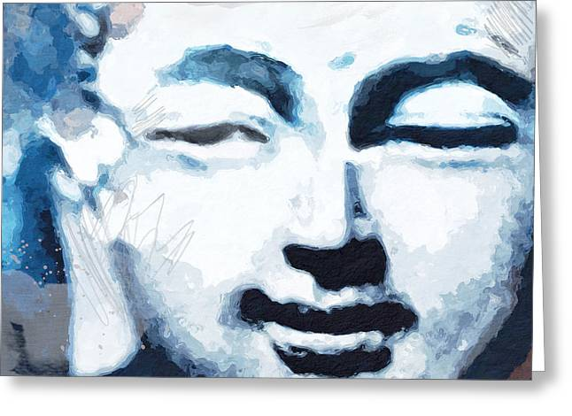 Peaceful Buddha 2- Art By Linda Woods Greeting Card by Linda Woods