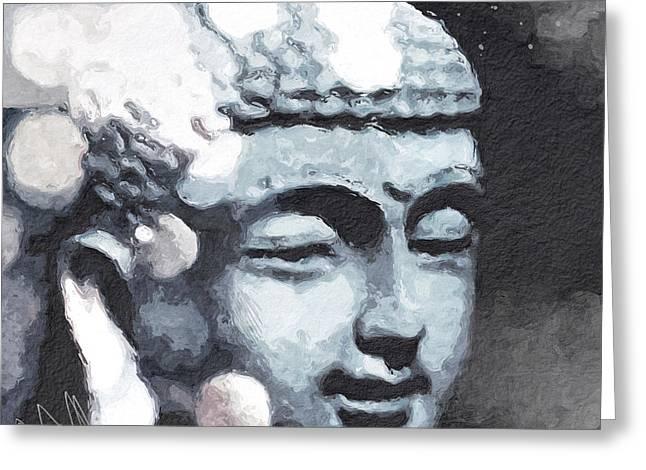 Peaceful Buddha 3- Art By Linda Woods Greeting Card