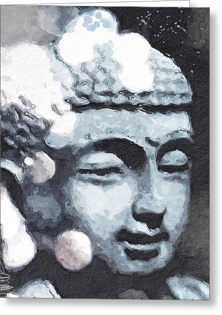 Peaceful Buddha 3- Art By Linda Woods Greeting Card by Linda Woods