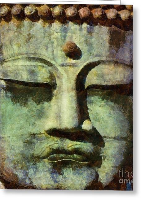 Peaceful Buddha By Sarah Kirk Greeting Card