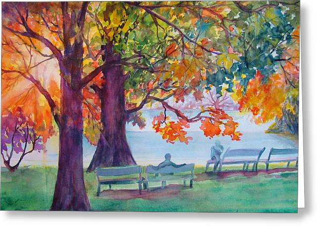Greeting Card featuring the painting Peaceful Chat by AnnE Dentler