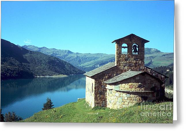 Peaceful Church And Lake  Greeting Card by Fabrizio Ruggeri
