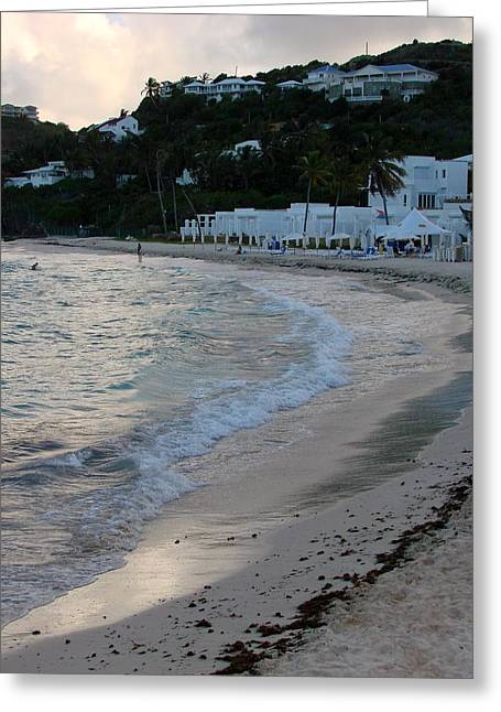 Greeting Card featuring the photograph Peaceful Evening On Dawn Beach by Margaret Bobb