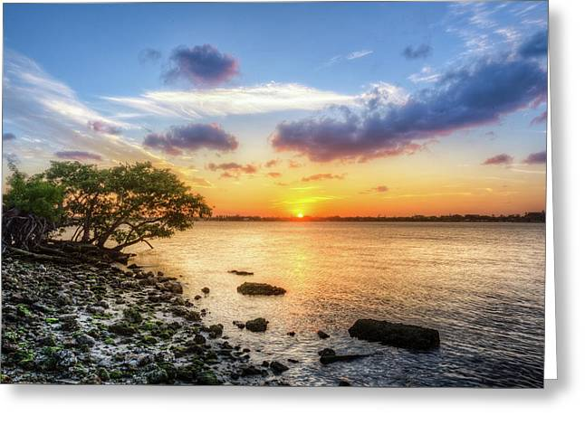 Greeting Card featuring the photograph Peaceful Evening On The Waterway by Debra and Dave Vanderlaan