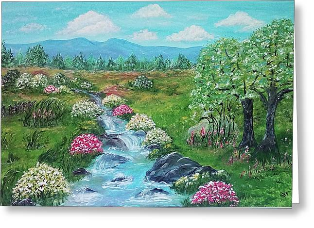 Greeting Card featuring the painting Peaceful Meadow by Sonya Nancy Capling-Bacle