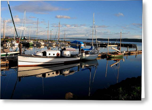 Peaceful Morning At The Harbor Greeting Card