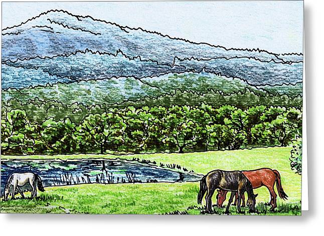 Peaceful Mountain Range With Grazing Horses Greeting Card