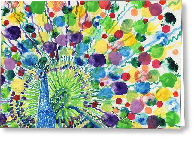 Peaceful Peacock Greeting Card by Connie Valasco