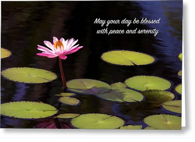 Peaceful Pink Lotus Flower  Greeting Card by Daphne Sampson