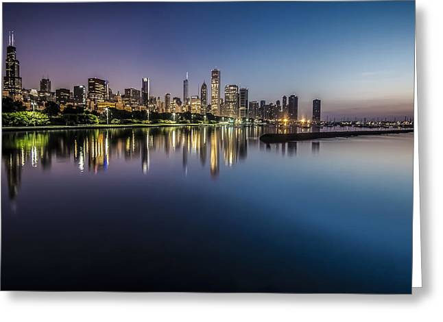 Peaceful Summer Dawn Scene On Chicago's Lakefront Greeting Card