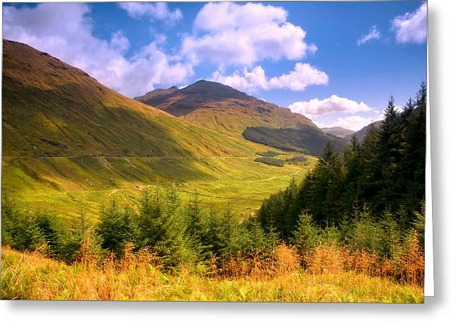 Peaceful Sunny Day In Mountains. Rest And Be Thankful. Scotland Greeting Card