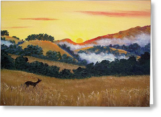Mist Paintings Greeting Cards - Peaceful Sunset at Fremont Older Greeting Card by Laura Iverson