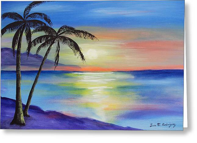 Peaceful Sunset Greeting Card by Luis F Rodriguez