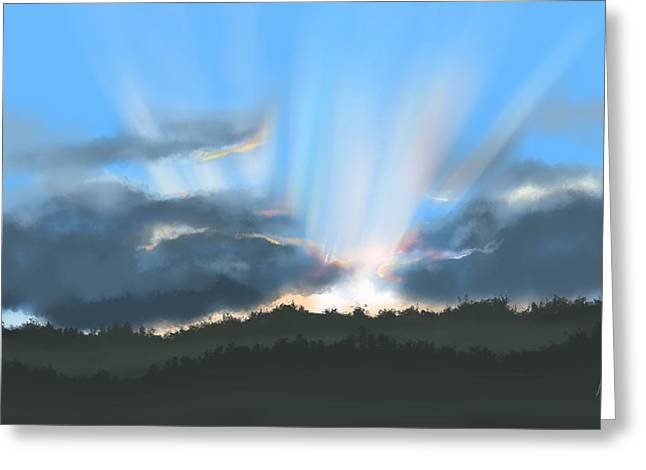 Peaceful Sunset  Greeting Card by Veronica Minozzi