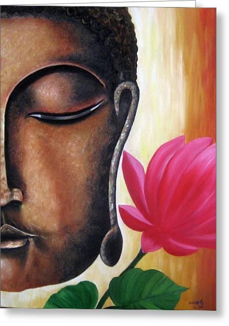 Peaceful Greeting Card by Usha Rai