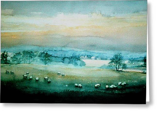 Sunset Prints Greeting Cards - Peaceful Valley Greeting Card by Hanne Lore Koehler