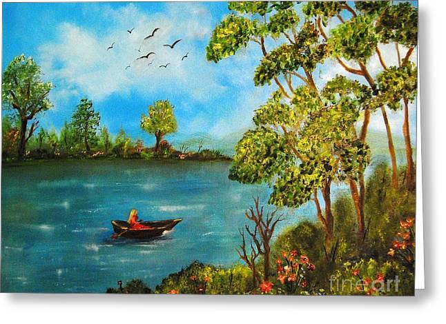 Peacful Boating Greeting Card by Tina Haeger