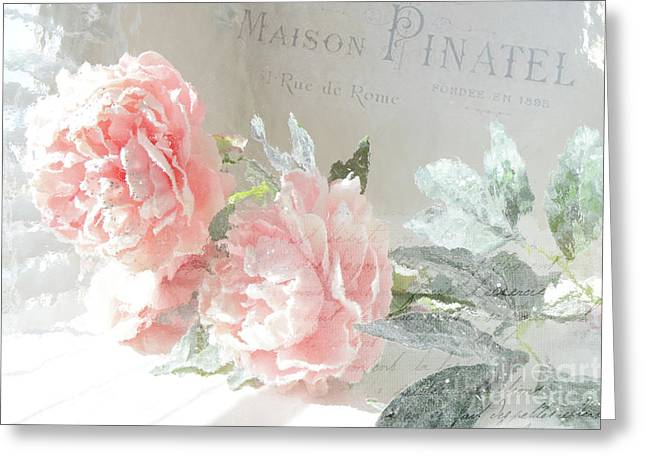 Peach Peonies Impressionistic Peony Floral Prints - French Impressionistic Peach Peony Prints Greeting Card