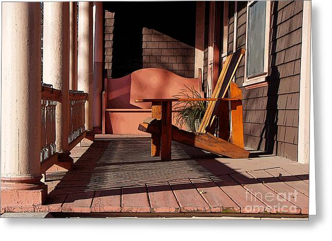 Peach Porch Greeting Card by Betsy Zimmerli