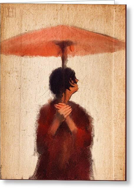 Peach Umbrella Greeting Card