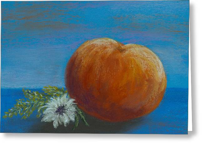 Peach With Summer Flowers Greeting Card