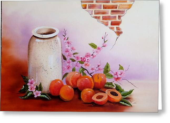 Peaches And Cream Greeting Card by Mary Matherne