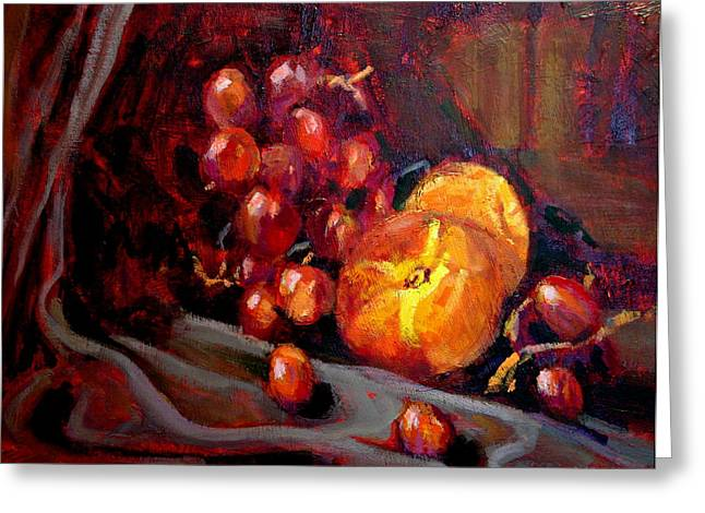 Peaches And Grapes Greeting Card by Brian Simons