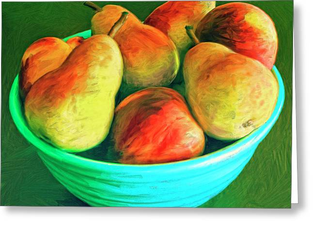 Peaches And Pears Greeting Card by Dominic Piperata