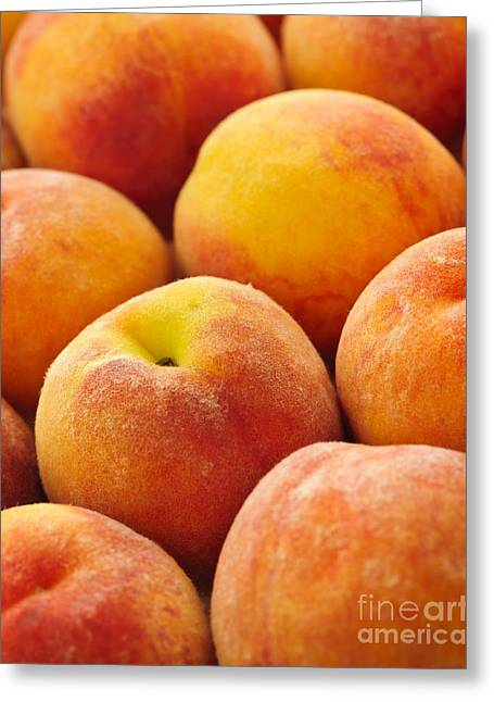 Peaches Background Greeting Card by Elena Elisseeva