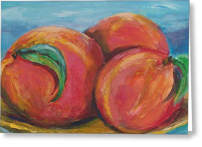 Peaches Greeting Card by Eric  Schiabor
