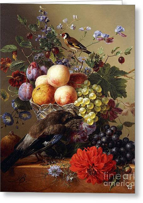 Peaches, Grapes, Plums And Flowers In A Glass Vase With A Jay On A Ledge Greeting Card by Arnoldus Bloemers