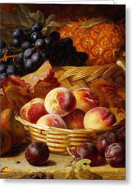 Peaches, Plums, Pears And Pineapple Greeting Card