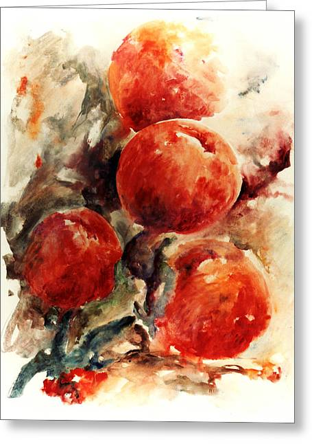 Peaches Greeting Card by Rachel Christine Nowicki