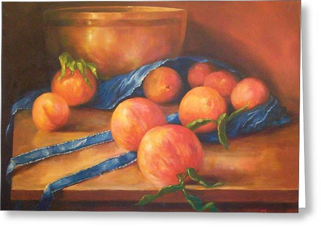 Peaches With Apron Greeting Card by Tom Forgione