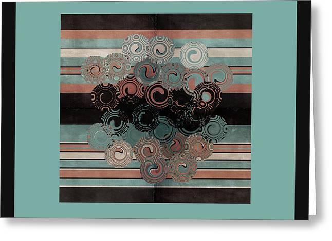 Peachy Aqua Swirls Greeting Card by Bonnie Bruno