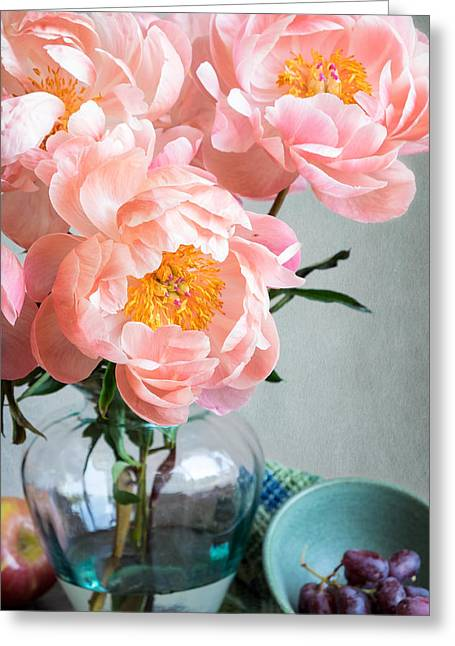 Peachy Peonies Greeting Card