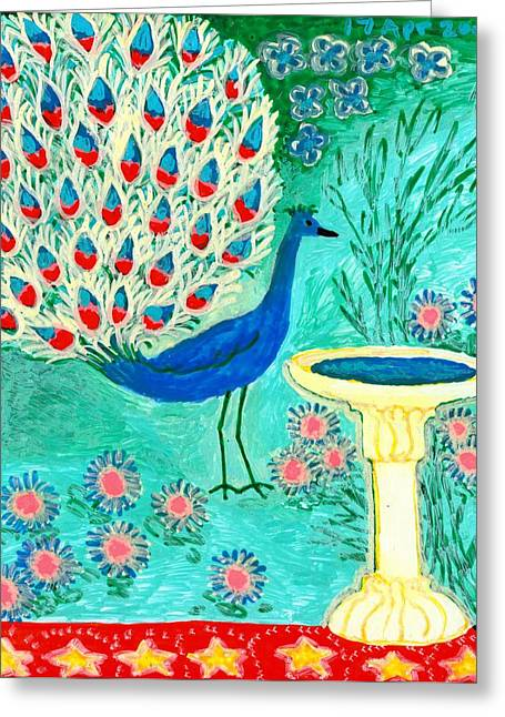Peacock And Birdbath Greeting Card by Sushila Burgess