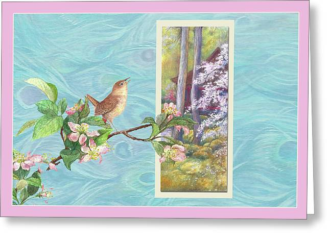 Greeting Card featuring the painting Peacock And Cherry Blossom With Wren by Judith Cheng