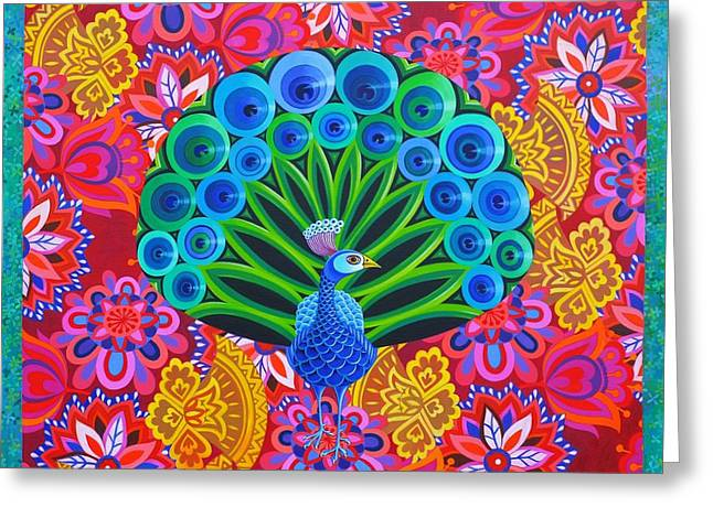 Peacock And Pattern Greeting Card by Jane Tattersfield