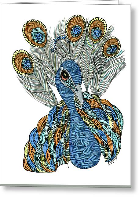 Greeting Card featuring the drawing Peacock by Barbara McConoughey