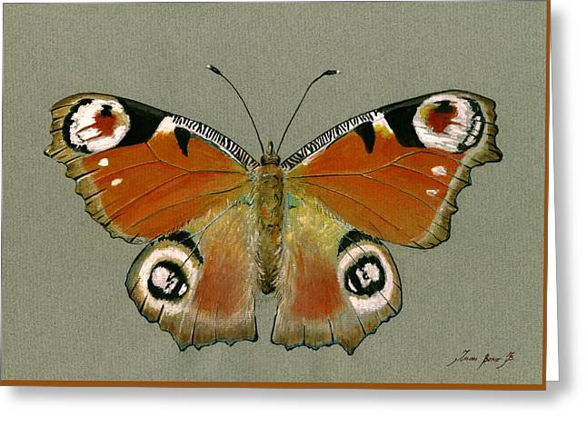 Peacock Butterfly Greeting Card by Juan Bosco