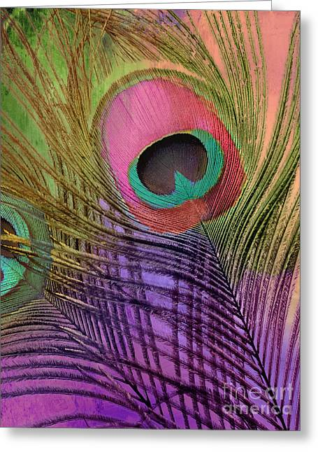 Peacock Candy Pink Green Coral Greeting Card by Mindy Sommers